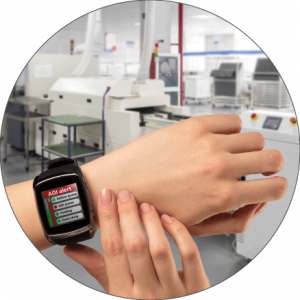 Production line operator wearing a smartwatch