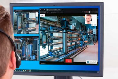 Live video footage and video call on expert's computer display